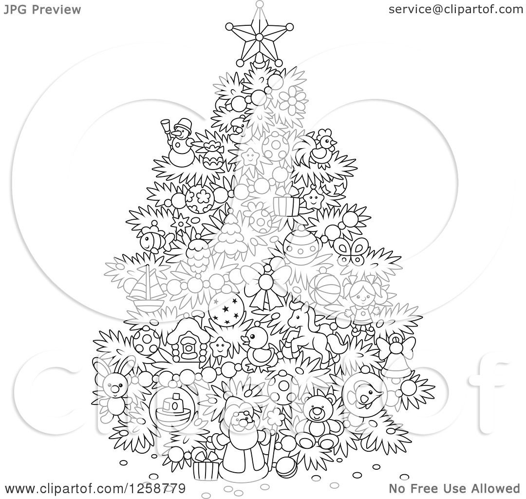Clipart of a Black and White Christmas Tree with Cute Ornaments - Royalty Free Vector ...