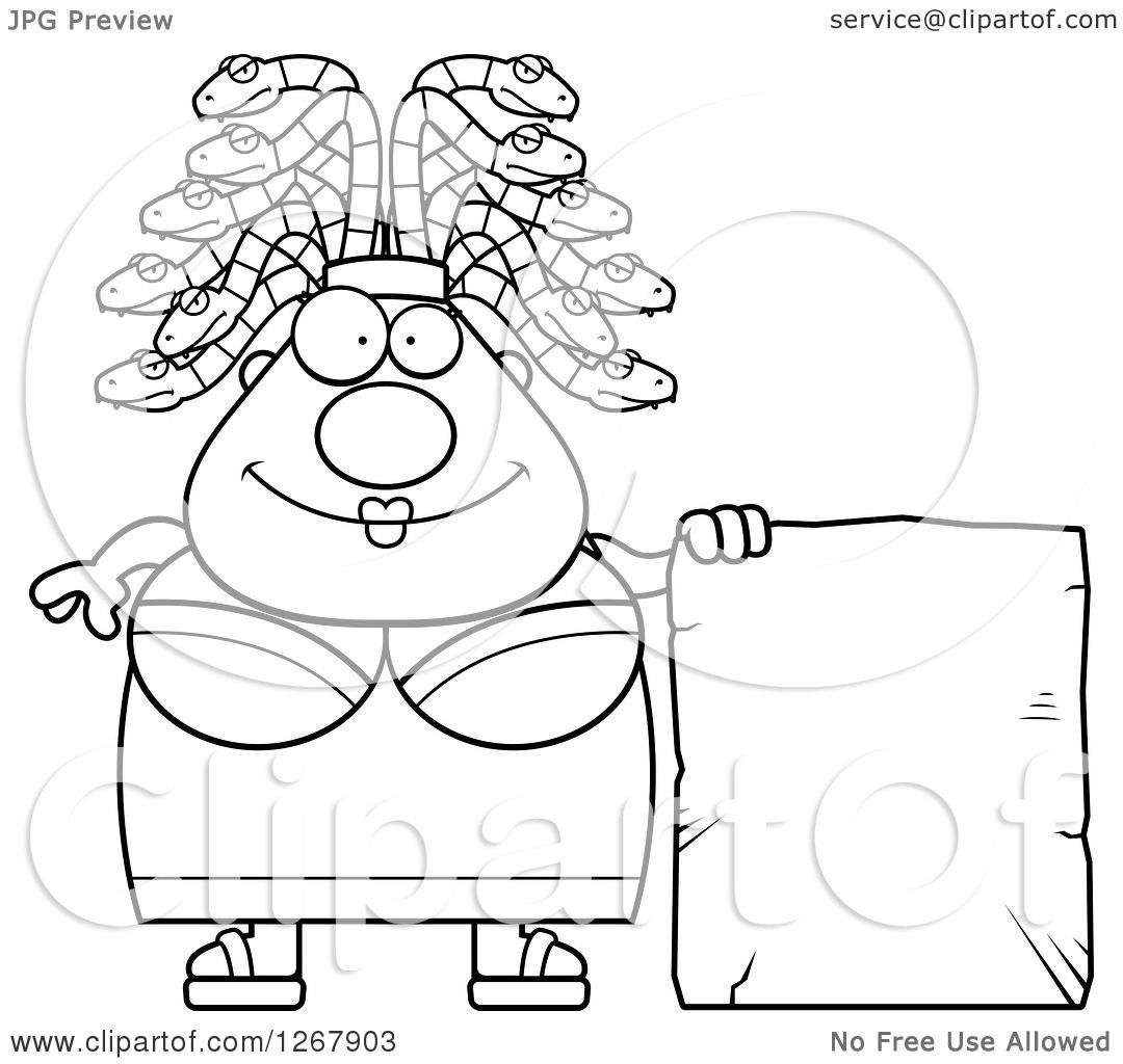 clipart of a black and white chubby gorgon medusa woman with snake