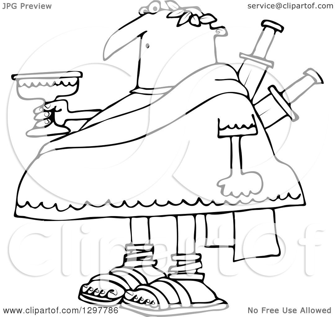 Uncategorized Julius Caesar Coloring Pages clipart of a black and white chubby julius caesar holding goblet with knives stabbed in his back royalty free vector illust