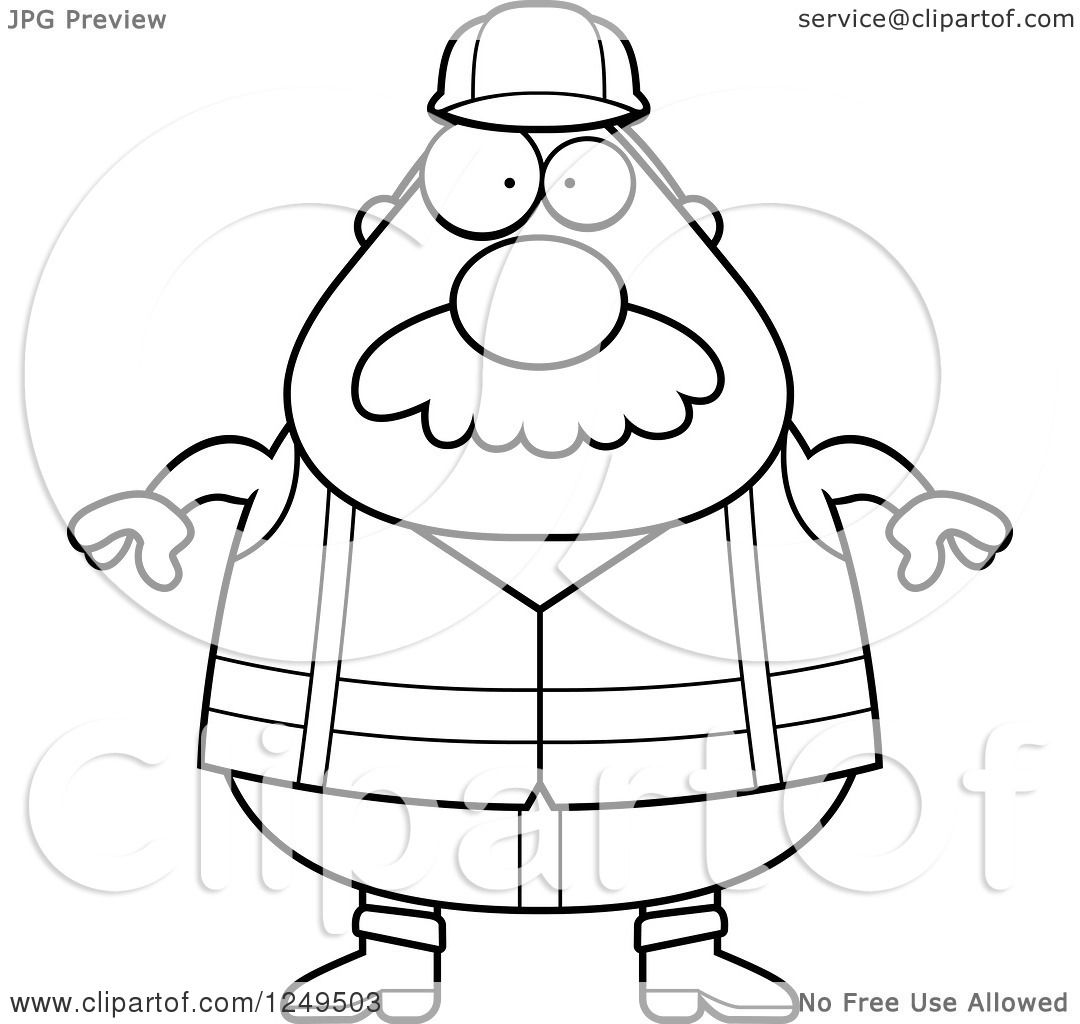 Clipart Of A Black And White Chubby Road Construction