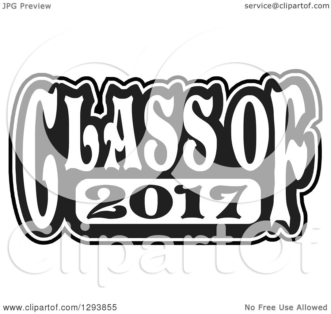 Clipart of a Black and White Class of 2017 High School Graduation Year ...