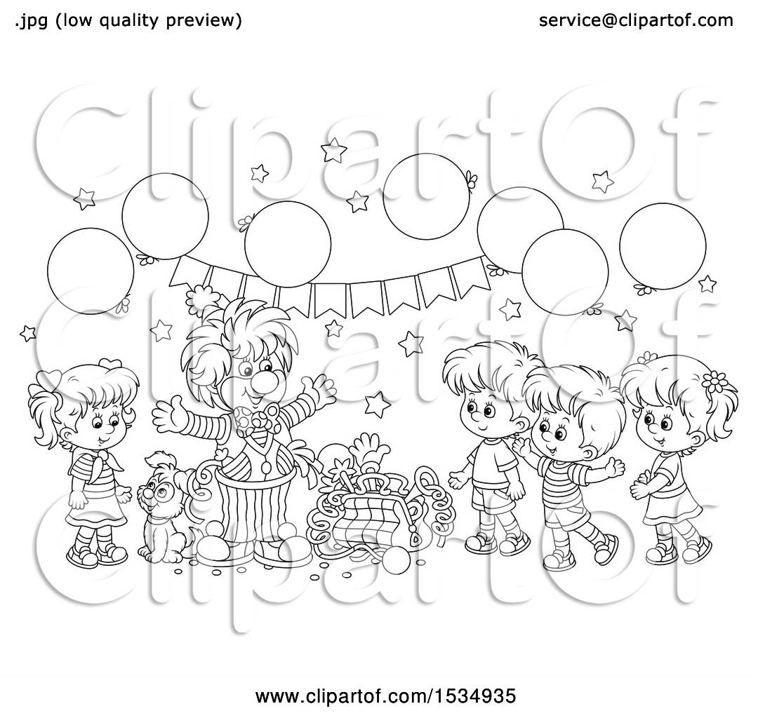 Clipart Of A Black And White Clown Entertaining Kids At Birthday Party