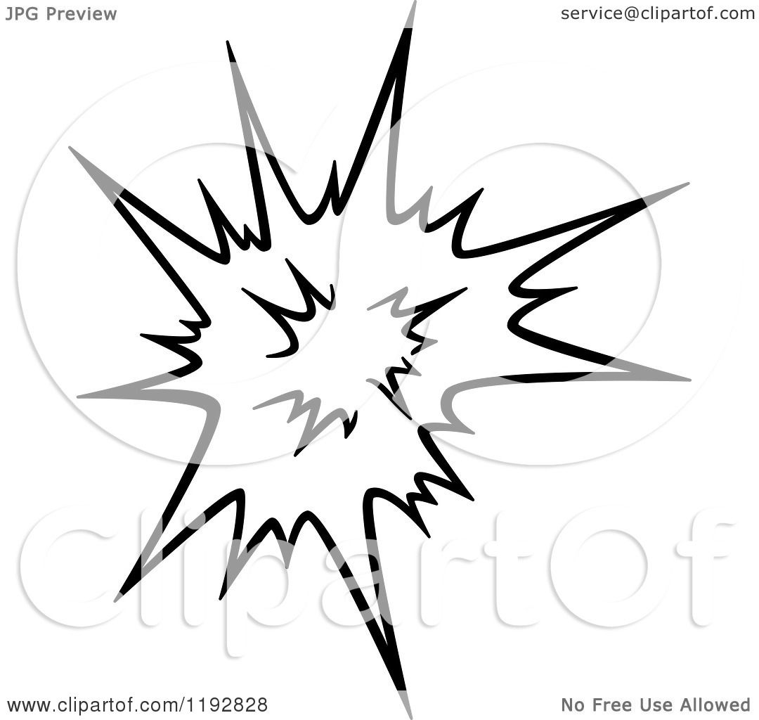 Explosion Black And White Clip Art Clipart of a Black and White