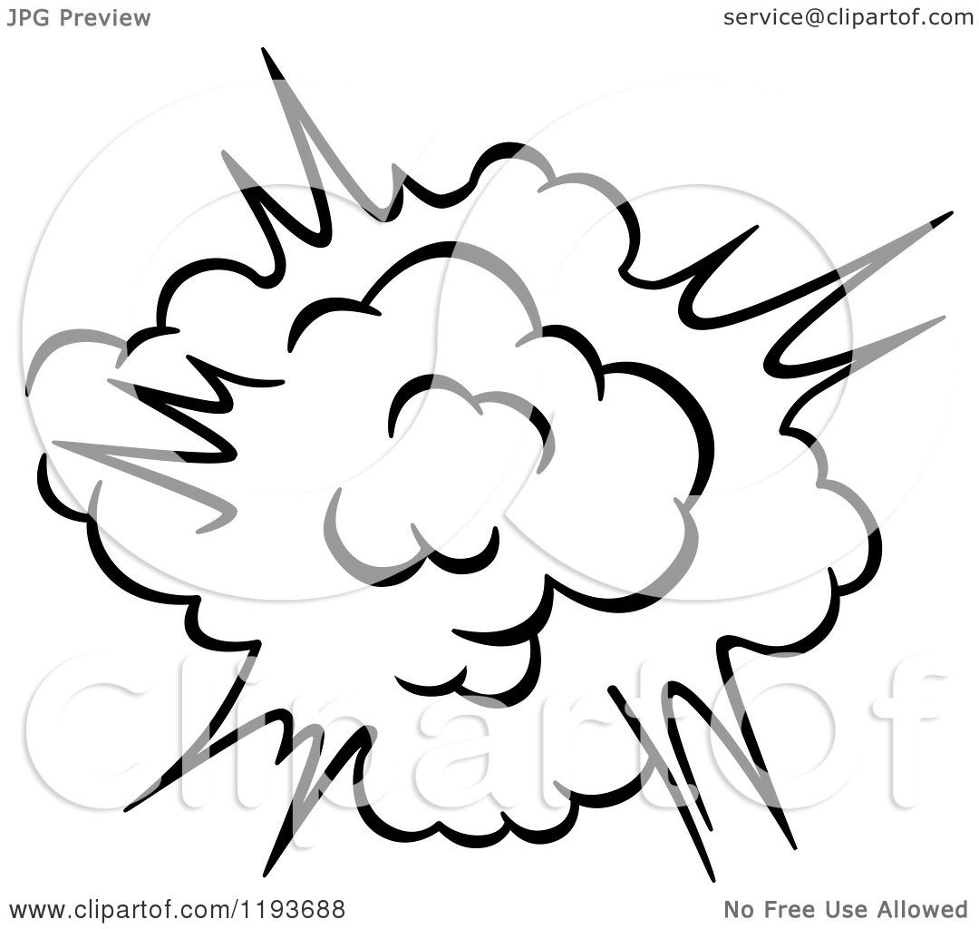 Clipart of a Black and White Comic Burst Explosion or Poof 7 ...