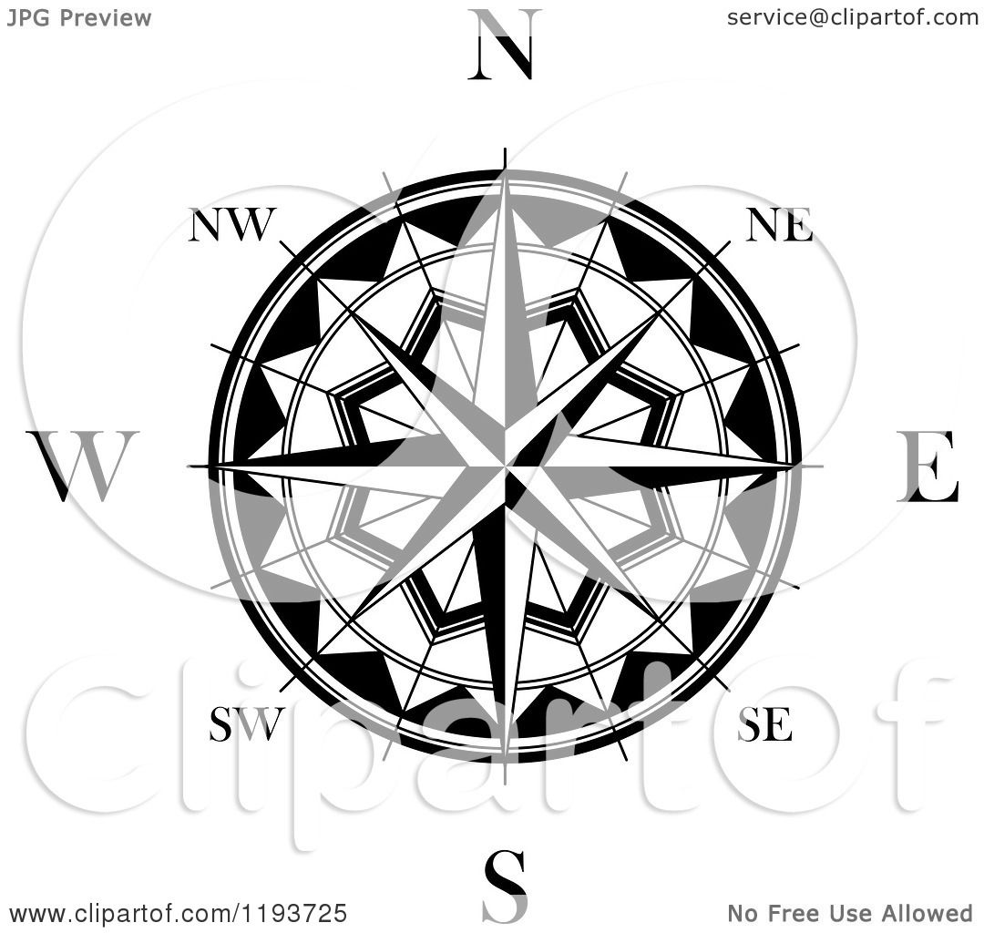 Clipart Of A Black And White Compass Rose 2 Royalty Free