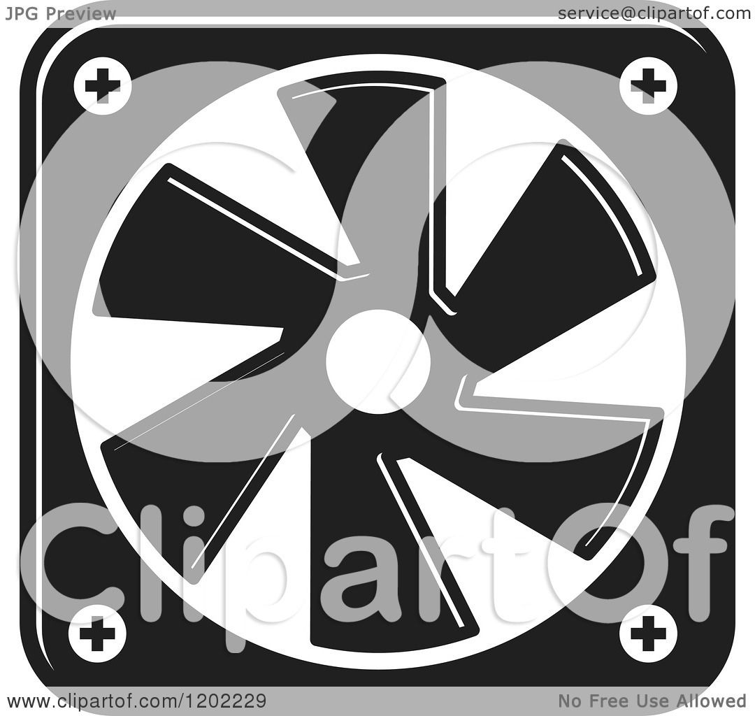 Cooling Fan Clip Art : Clipart of a black and white computer cooling fan icon