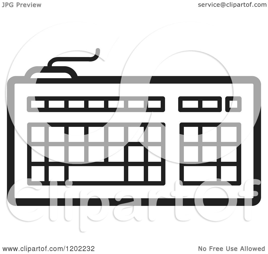 Clipart of a Black and White Computer Keyboard Icon ...