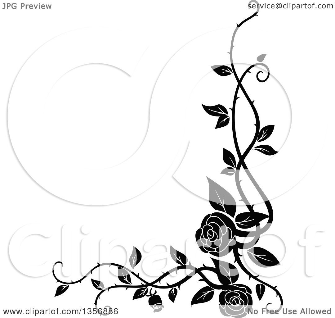 clipart of a black and white corner floral rose vine border design rh clipartof com wine border clip art free flower vine border clip art