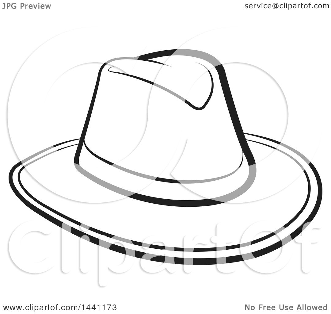 f7354242c52f3 Clipart of a Black and White Cowboy Hat - Royalty Free Vector Illustration  by Lal Perera