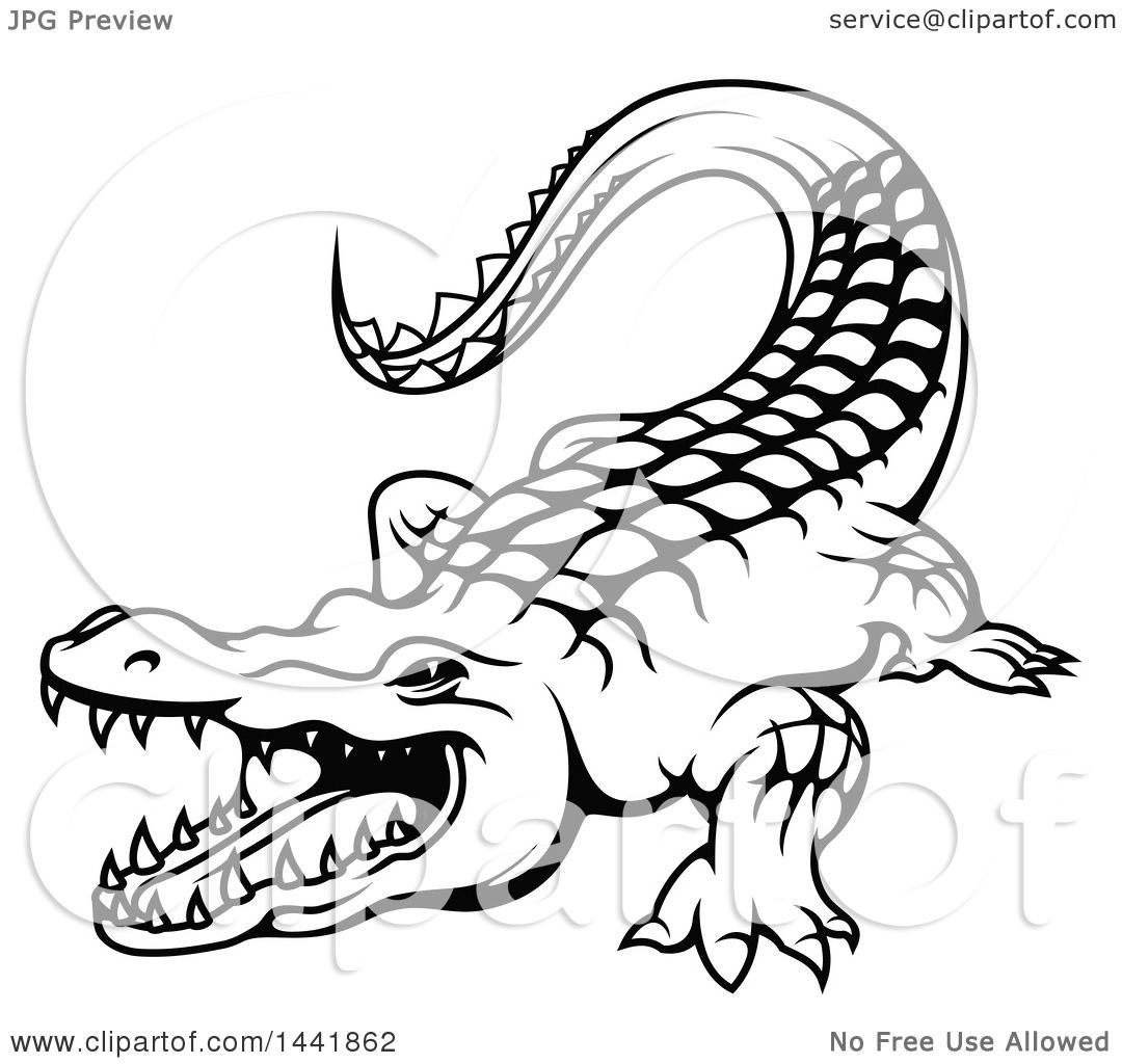 Clipart of a Black and White Crocodile - Royalty Free Vector ... for Clipart Crocodile Black And White  110zmd