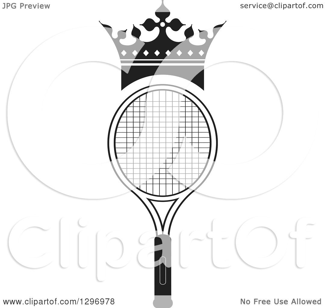clipart of a black and white crown over a tennis racket
