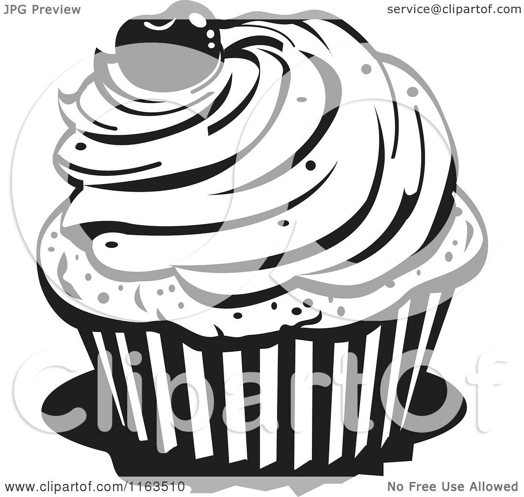 Clipart of a Black and White Cupcake with a Cherry on Top ...