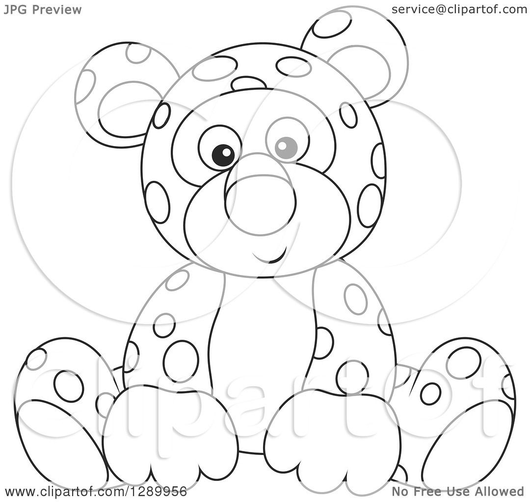 Clipart of a Black and White Cute Leopard Stuffed Animal ...