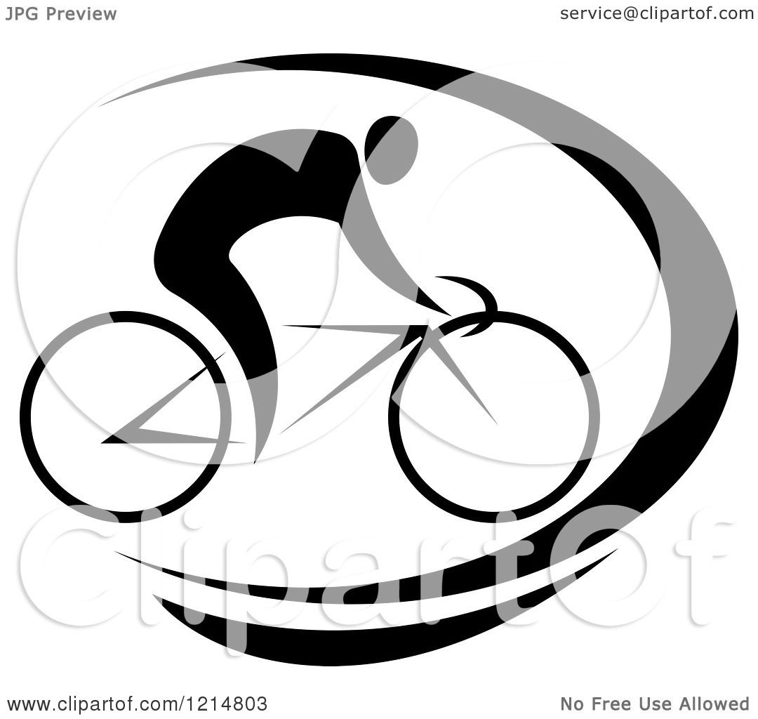 clipart of a black and white cyclist riding a bike