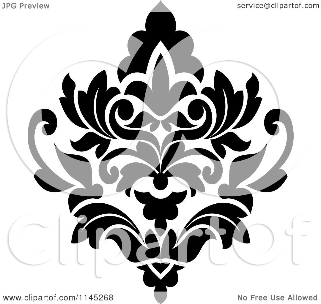 Clipart of a Black and White Damask Design 3 - Royalty Free Vector ...