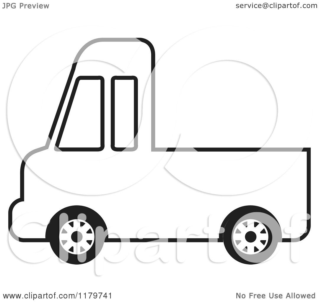 Clipart of a Black and White Delivery Truck - Royalty Free ...