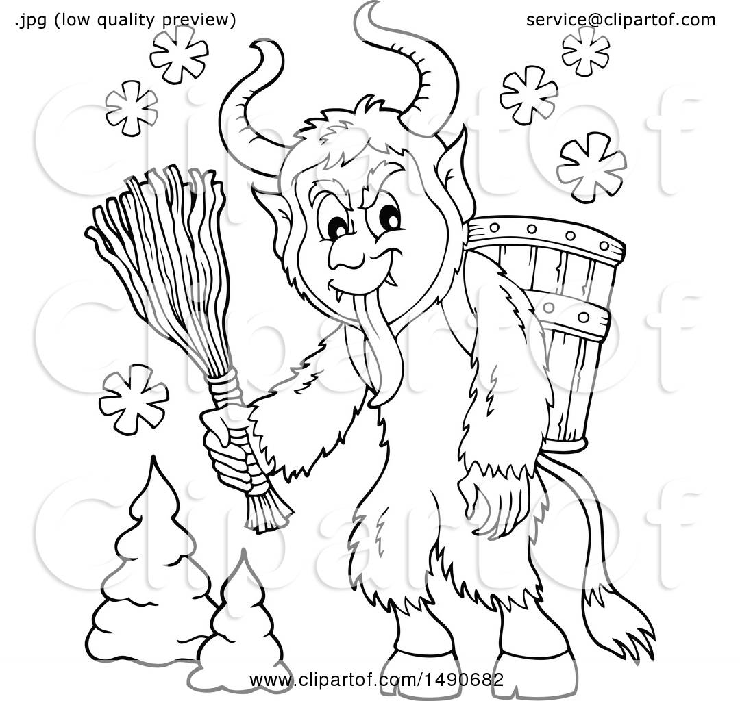 Clipart Of A Black And White Demon Goat Man Krampus