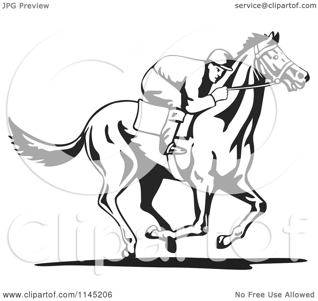 Clipart Of A Black And White Derby Jockey Racing Horse 3