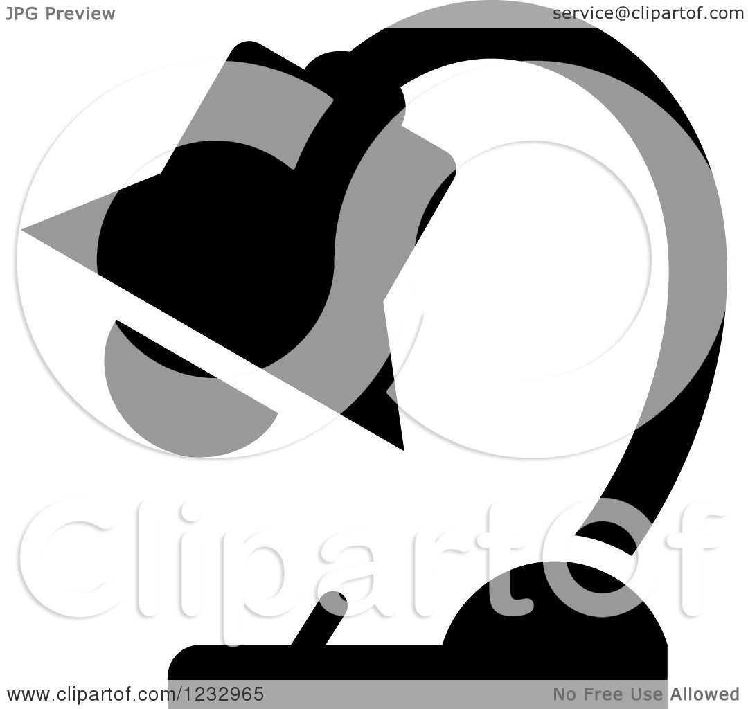 Royalty Free Desk Lamp Clip Art Vector Images: Clipart Of A Black And White Desk Lamp Business Icon