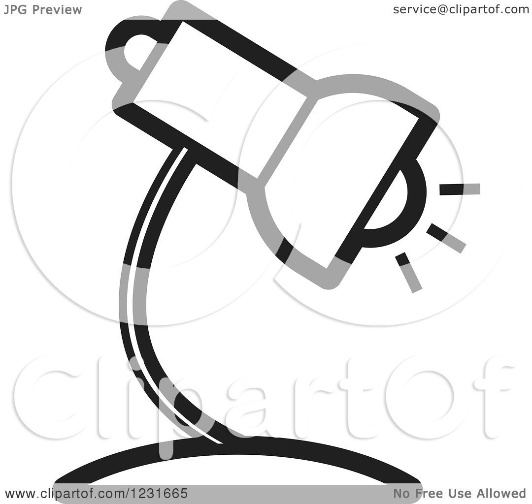 Royalty Free Desk Lamp Clip Art Vector Images: Clipart Of A Black And White Desk Lamp Icon 2