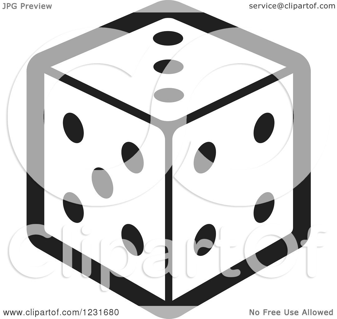 Clipart of a Black and White Dice Icon - Royalty Free Vector ...