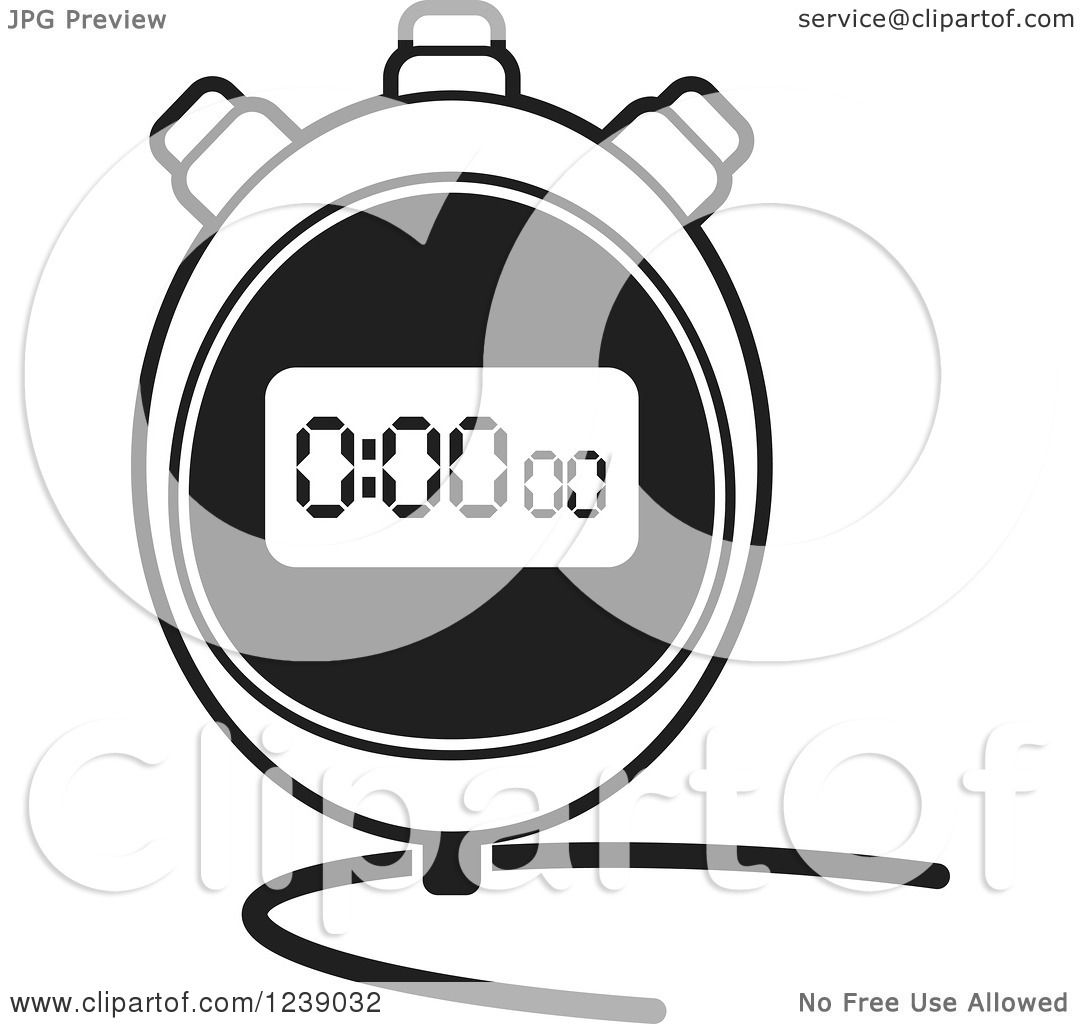 clipart of a black and white digital stopwatch