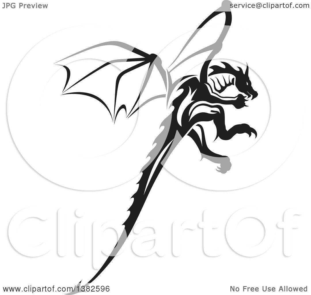 clipart of a black and white dragon tattoo design royalty free vector illustration by dero. Black Bedroom Furniture Sets. Home Design Ideas