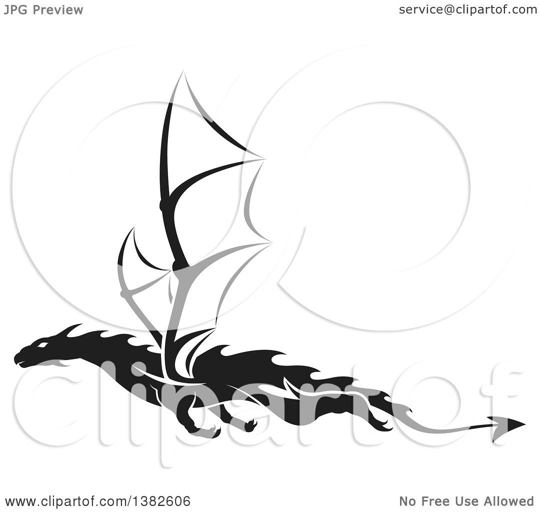 Tattoo Clipart Black And White: Clipart Of A Black And White Dragon Tattoo Design