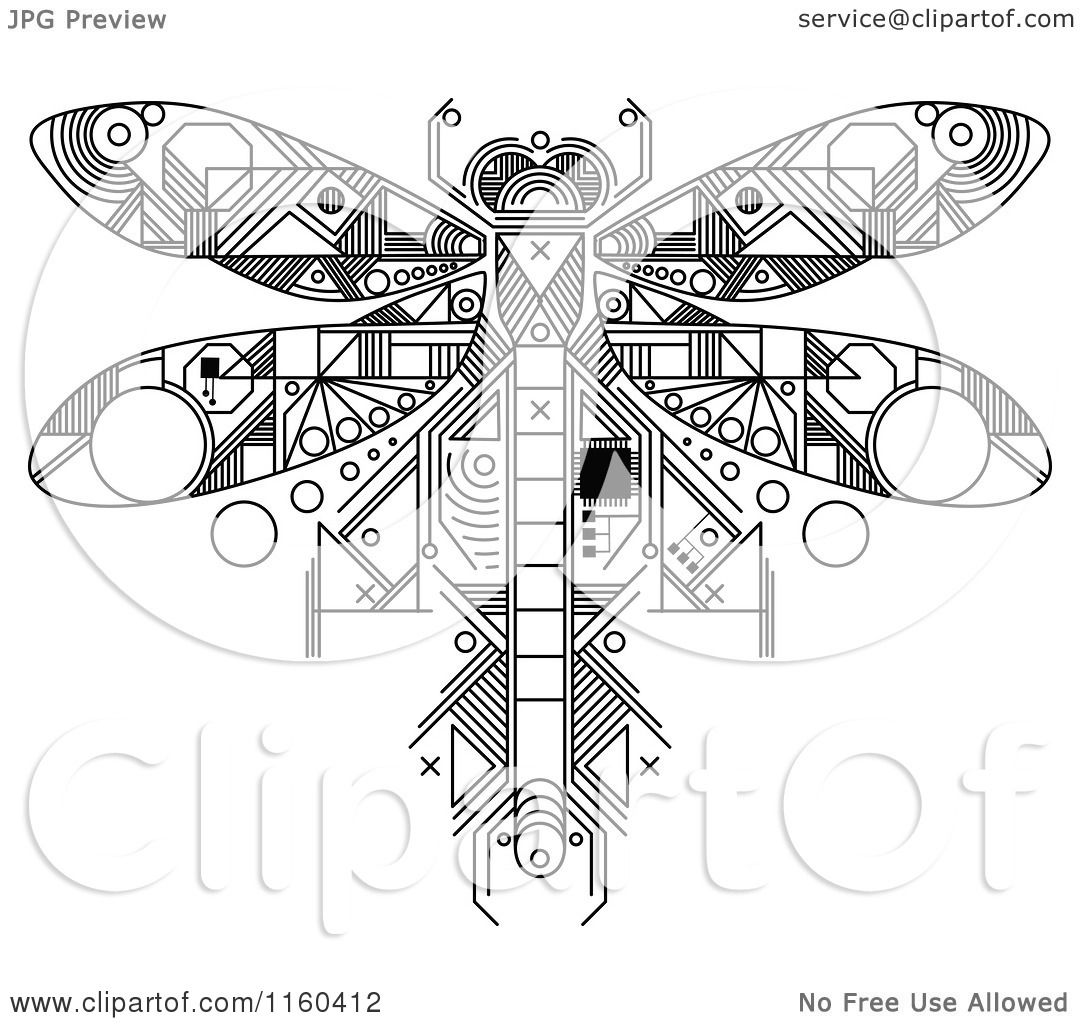 Clipart of a Black and White Dragonfly Motherboard Computer Chip ...