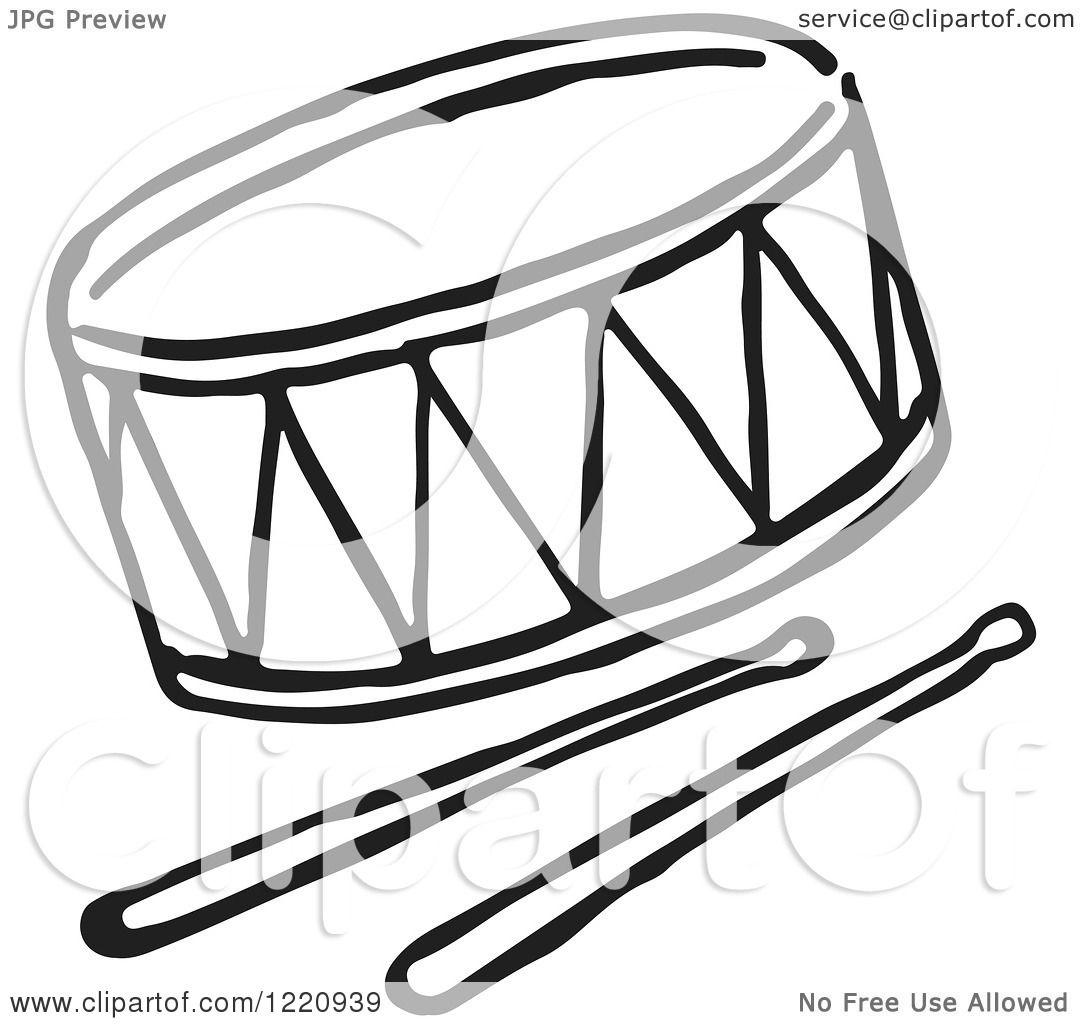 Clipart of a Black and White Drum and Sticks - Royalty ...