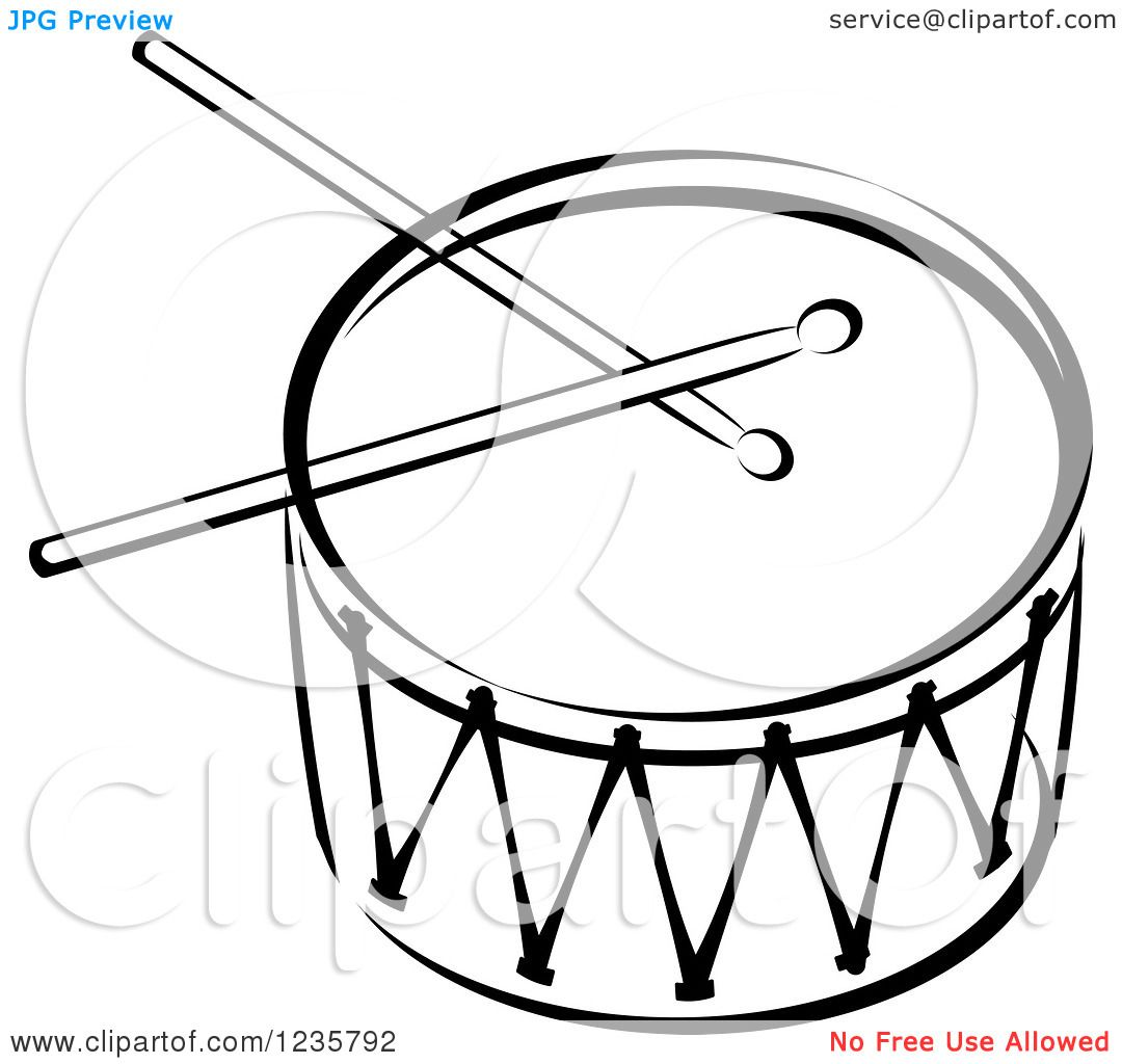 Clip Art Drums Clipart of a black and white