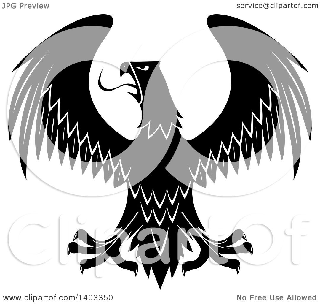 52dbaa7f6 Clipart of a Black and White Eagle - Royalty Free Vector Illustration by  Vector Tradition SM