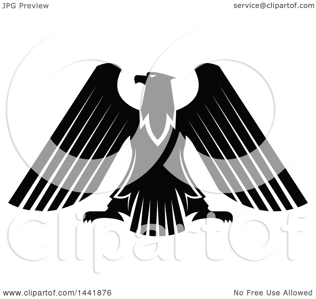 Clipart of a Black and White Eagle - Royalty Free Vector ...
