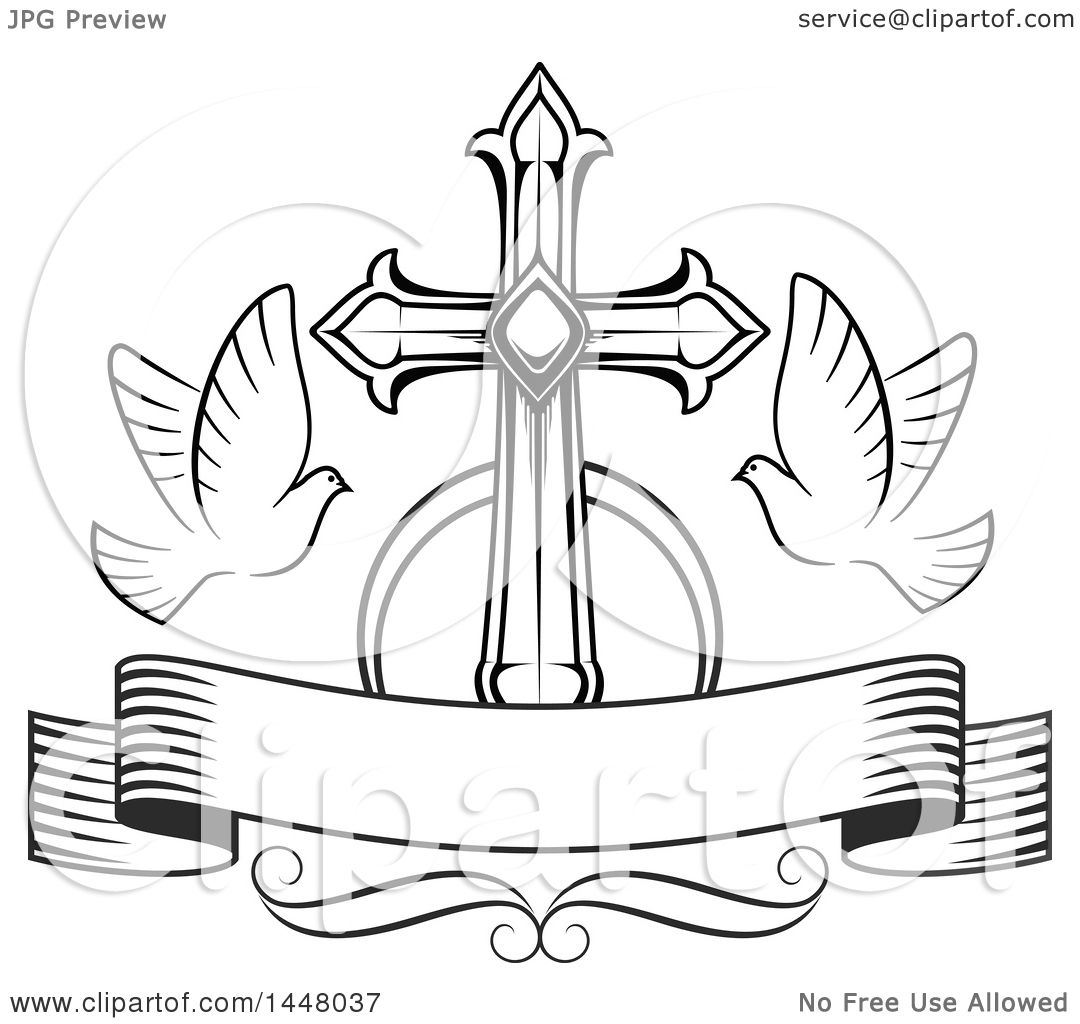 Clipart of a black and white easter cross with doves and a blank clipart of a black and white easter cross with doves and a blank ribbon banner royalty free vector illustration by vector tradition sm buycottarizona Gallery