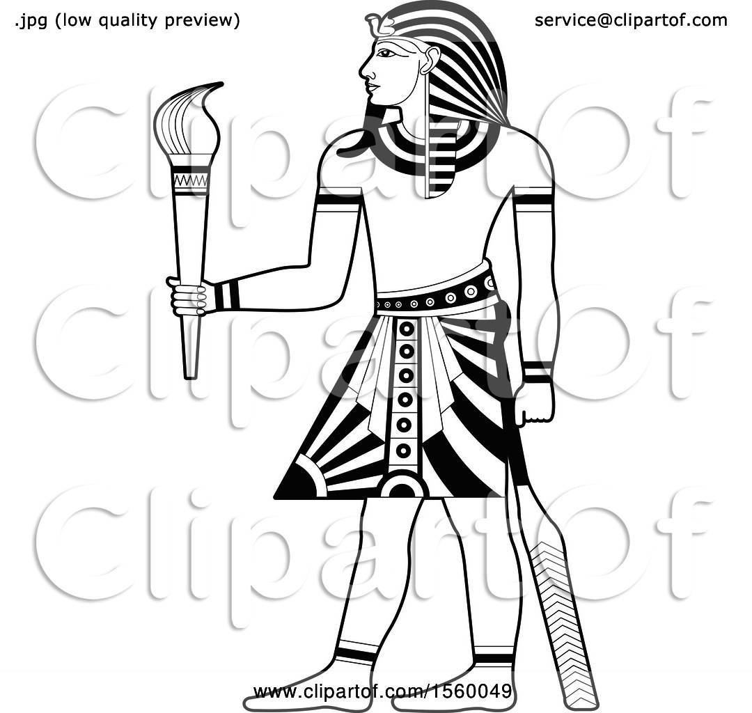 Clipart of a Black and White Egyptian King Holding a Torch - Royalty ... for Torch Clipart Black And White  67qdu