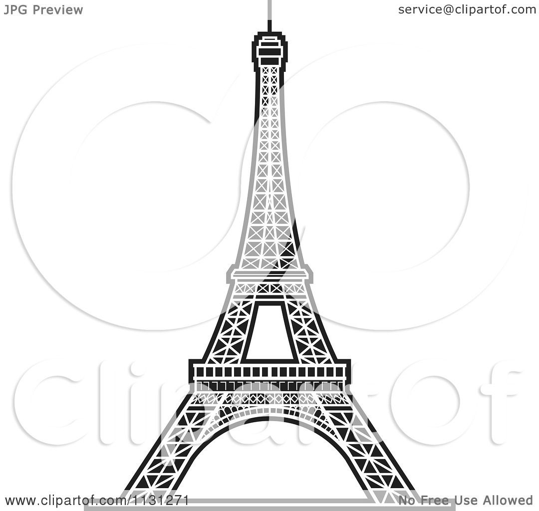 clipart of a black and white eiffel tower 2