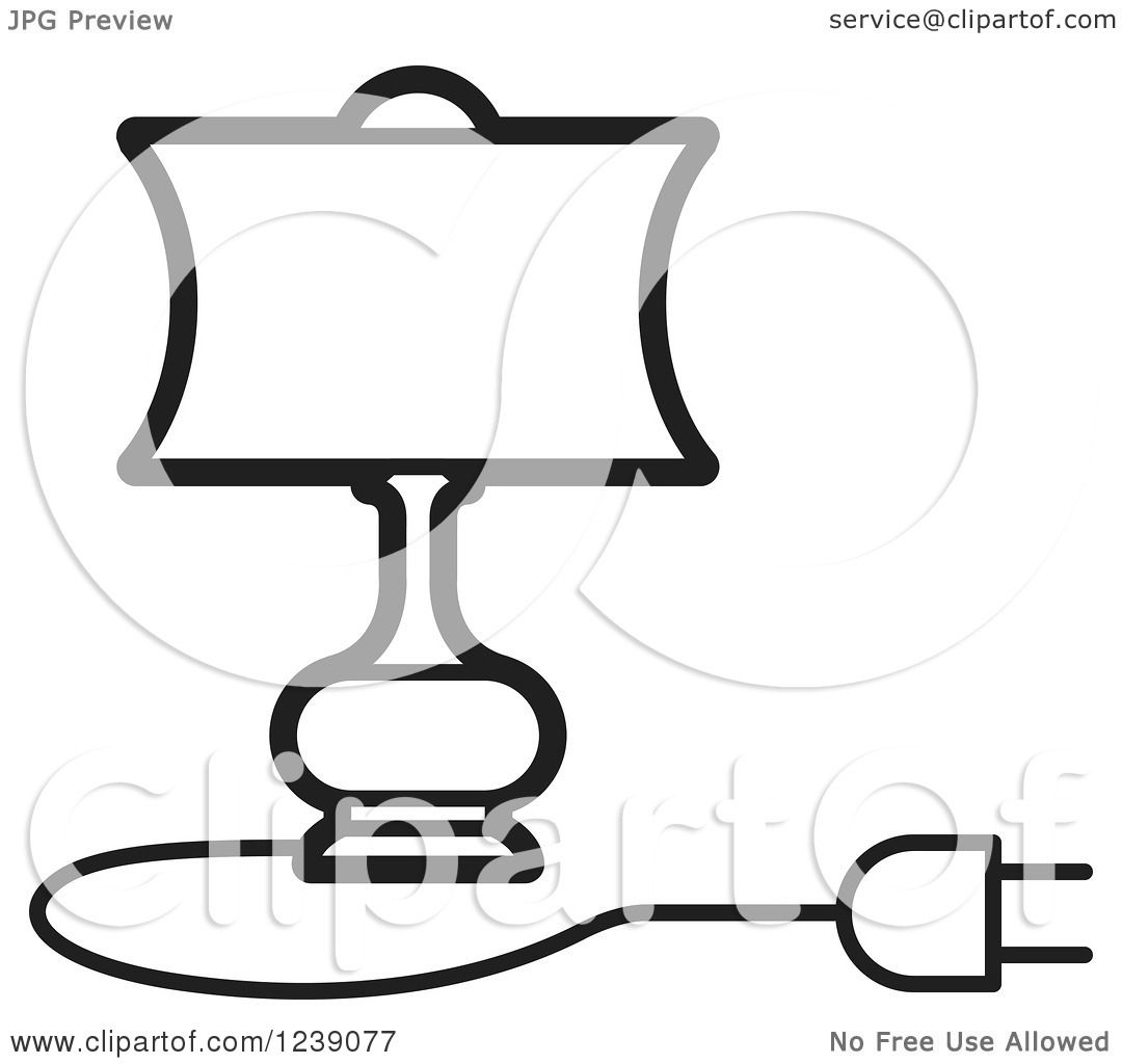Black Ceiling Lamp Royalty Free Vector Image: Clipart Of A Black And White Electric Lamp With A Shade 4