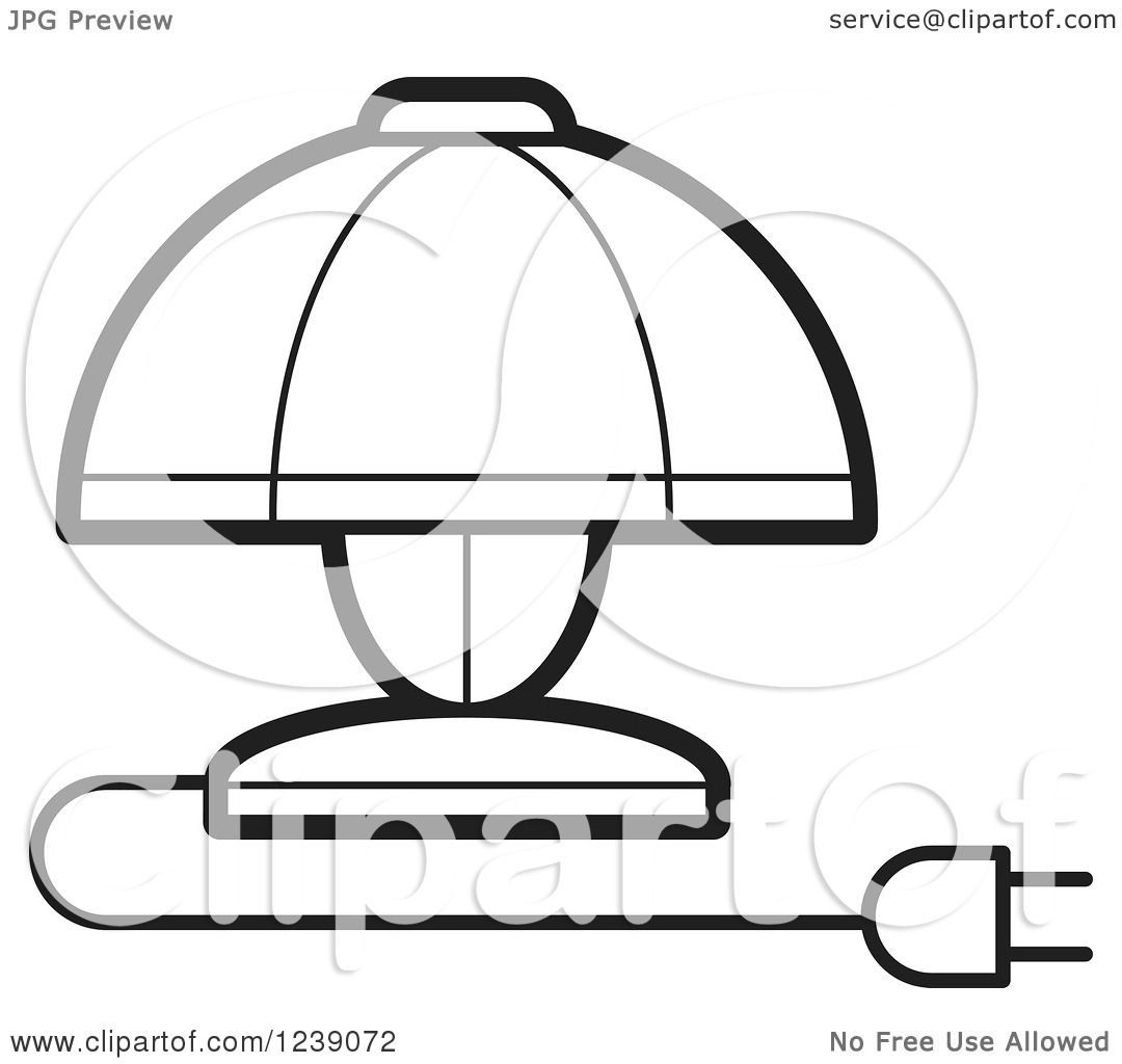 Black Ceiling Lamp Royalty Free Vector Image: Clipart Of A Black And White Electric Lamp With A Shade