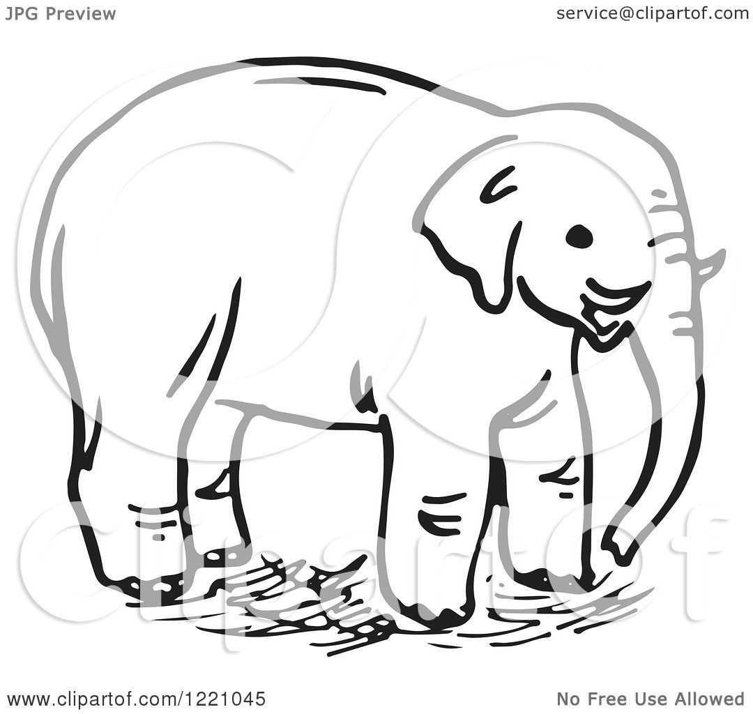 Clipart of a Black and White Elephant - Royalty Free ...