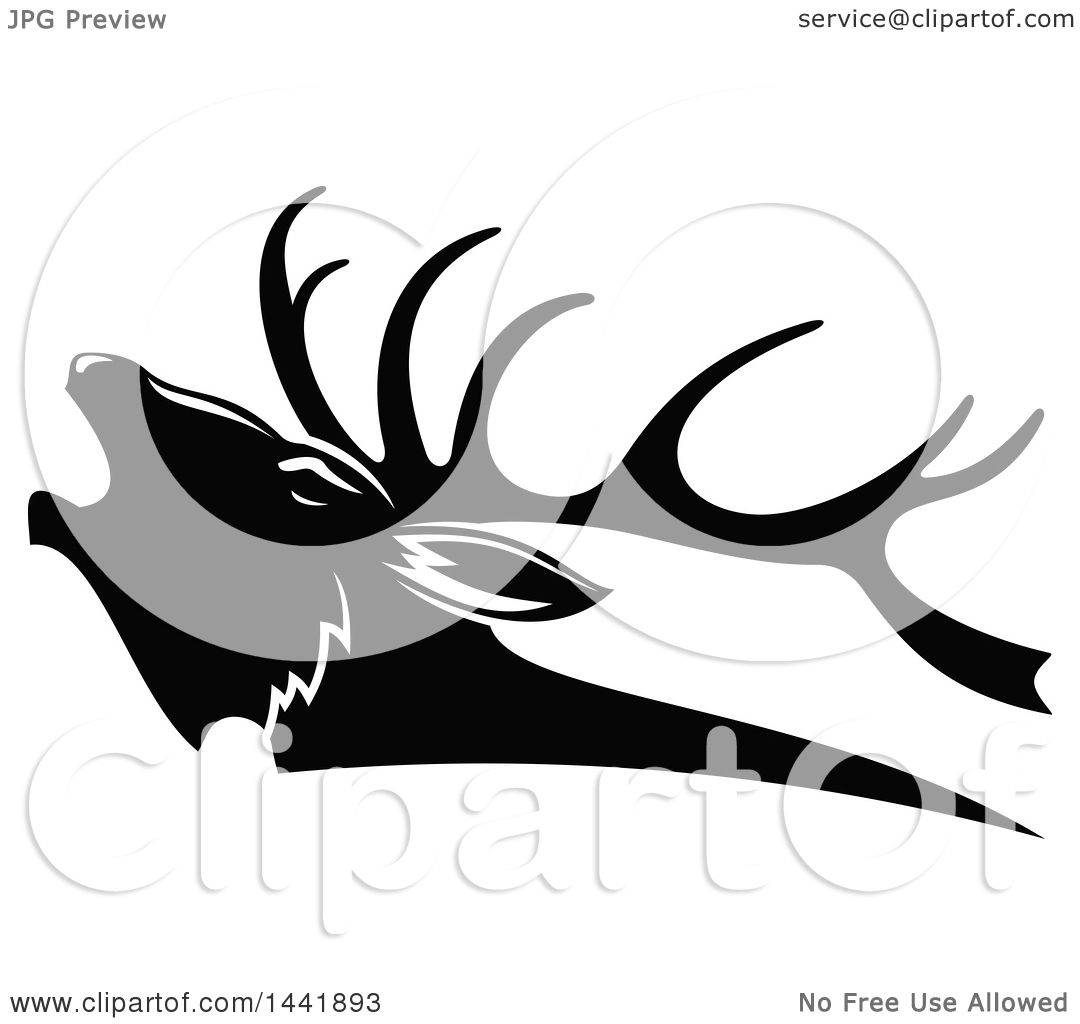 Clipart Of A Black And White Elk Head In Profile Royalty
