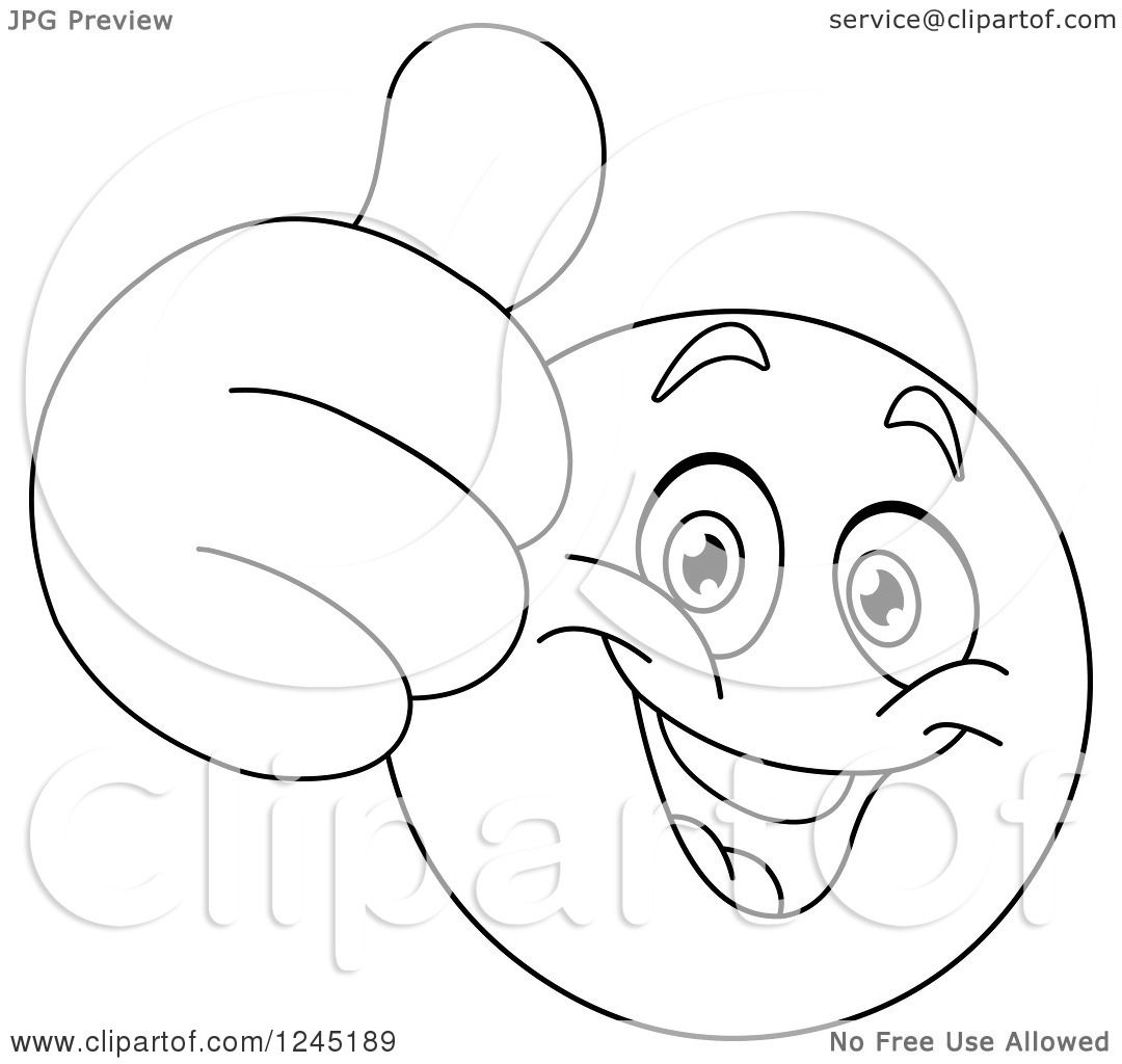 Line Drawing Of Happy Face : Clipart of a black and white emoticon holding thumb up