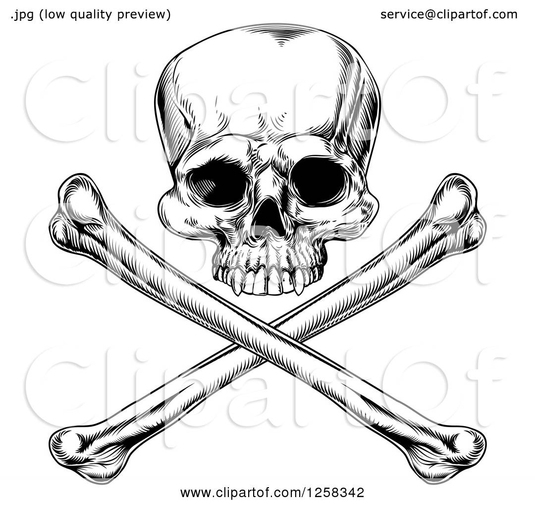 Clipart of a Black and White Engraved