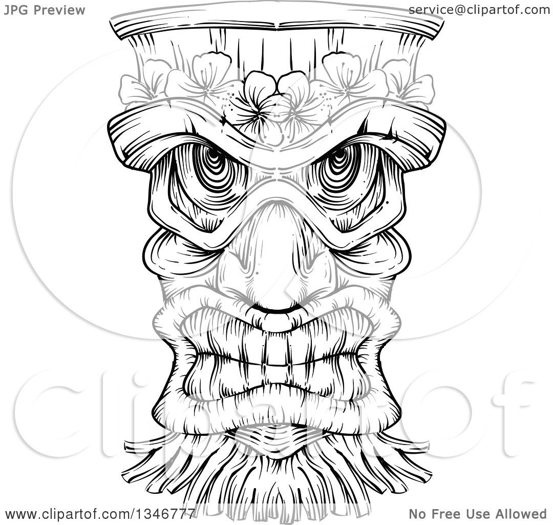 Clipart of a Black and White Engraved Tiki Mask - Royalty Free ...