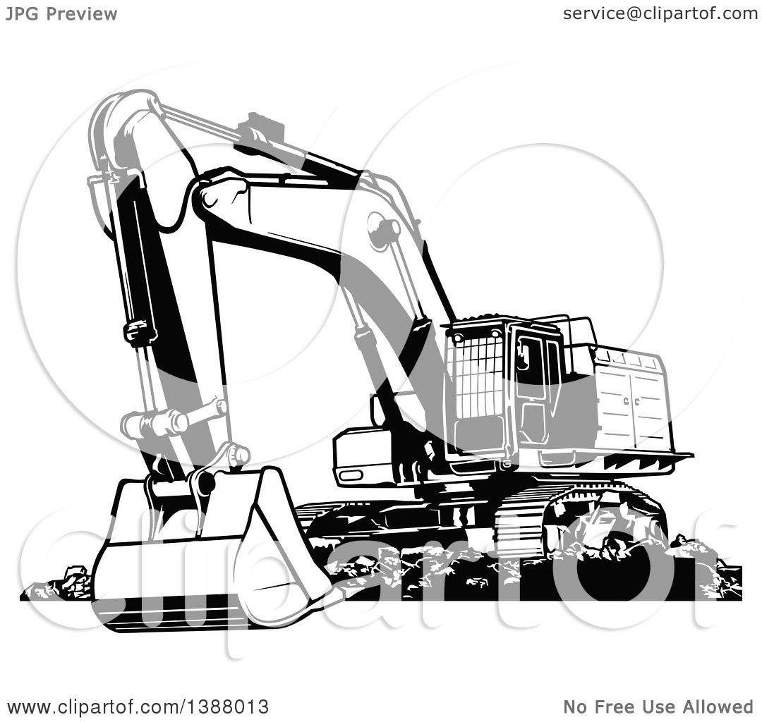 Clipart Of A Black And White Excavator Machine Royalty