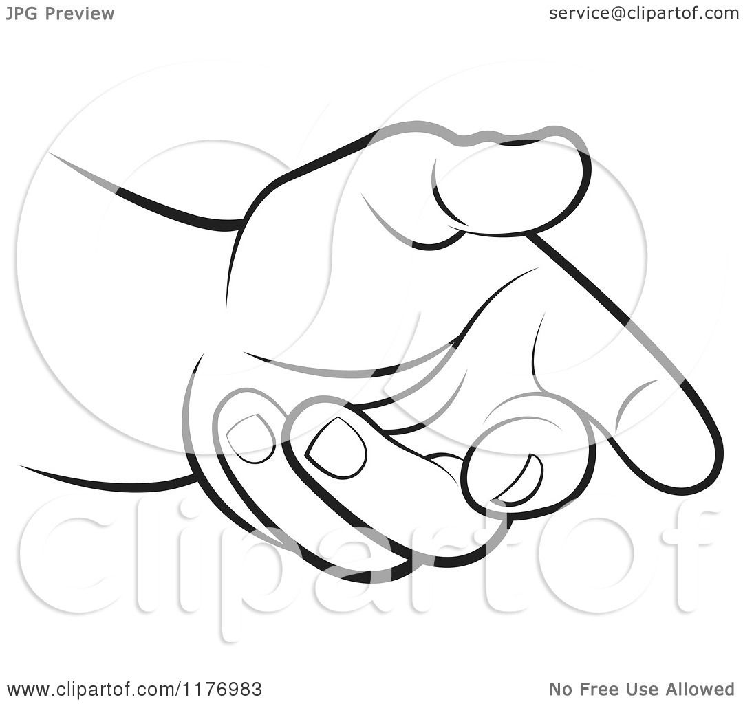 Clipart of a Black and White Extended Offering Hand - Royalty Free ...