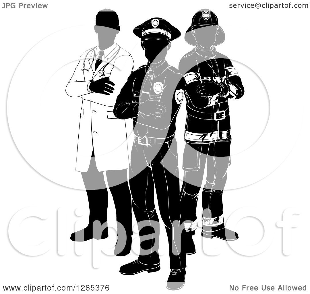 Clipart Of A Black And White Faceless Doctor Policeman And