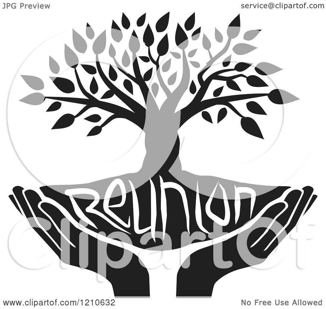 Clipart Of A Black And White Family Reunion Tree And Uplifted Hands