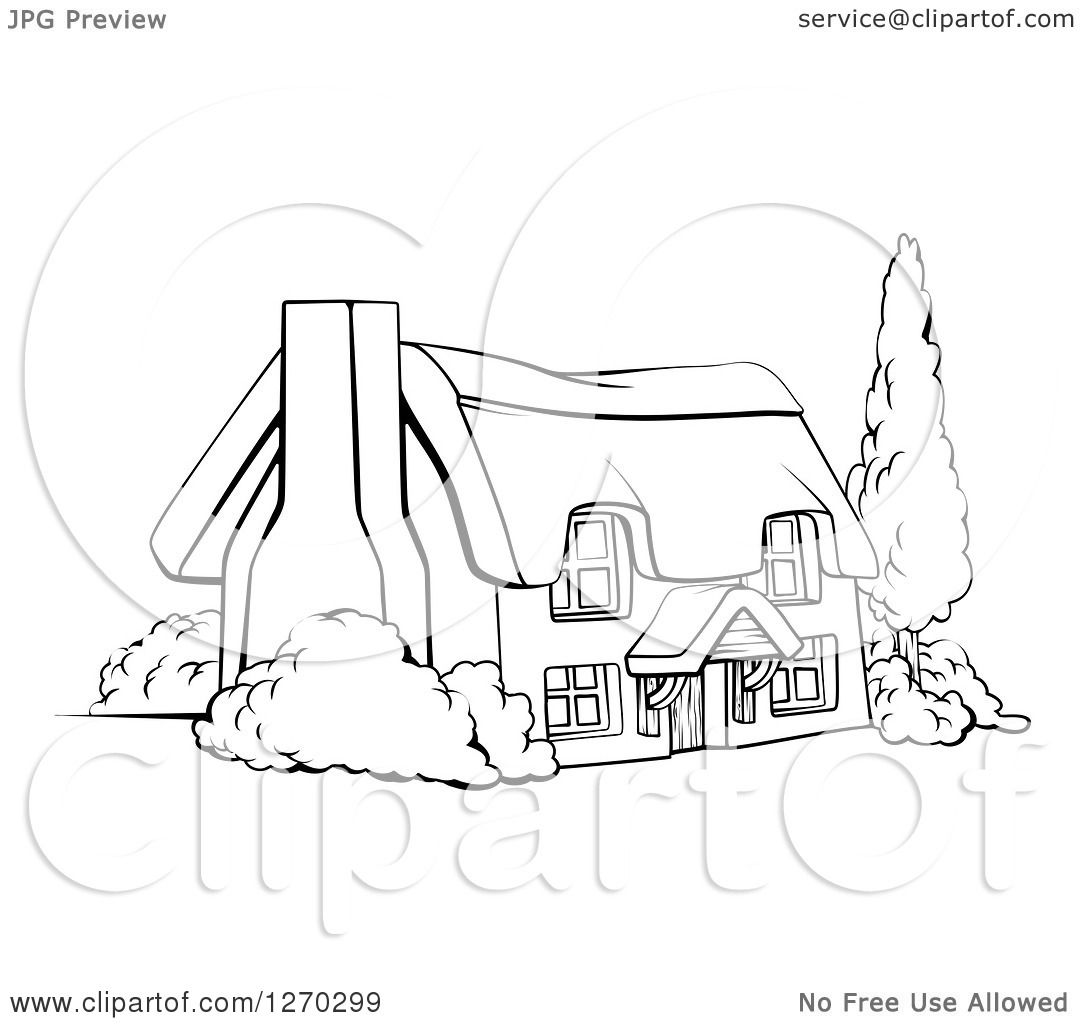 Clipart Of A Black And White Farm Cottage With Shrubs Tree