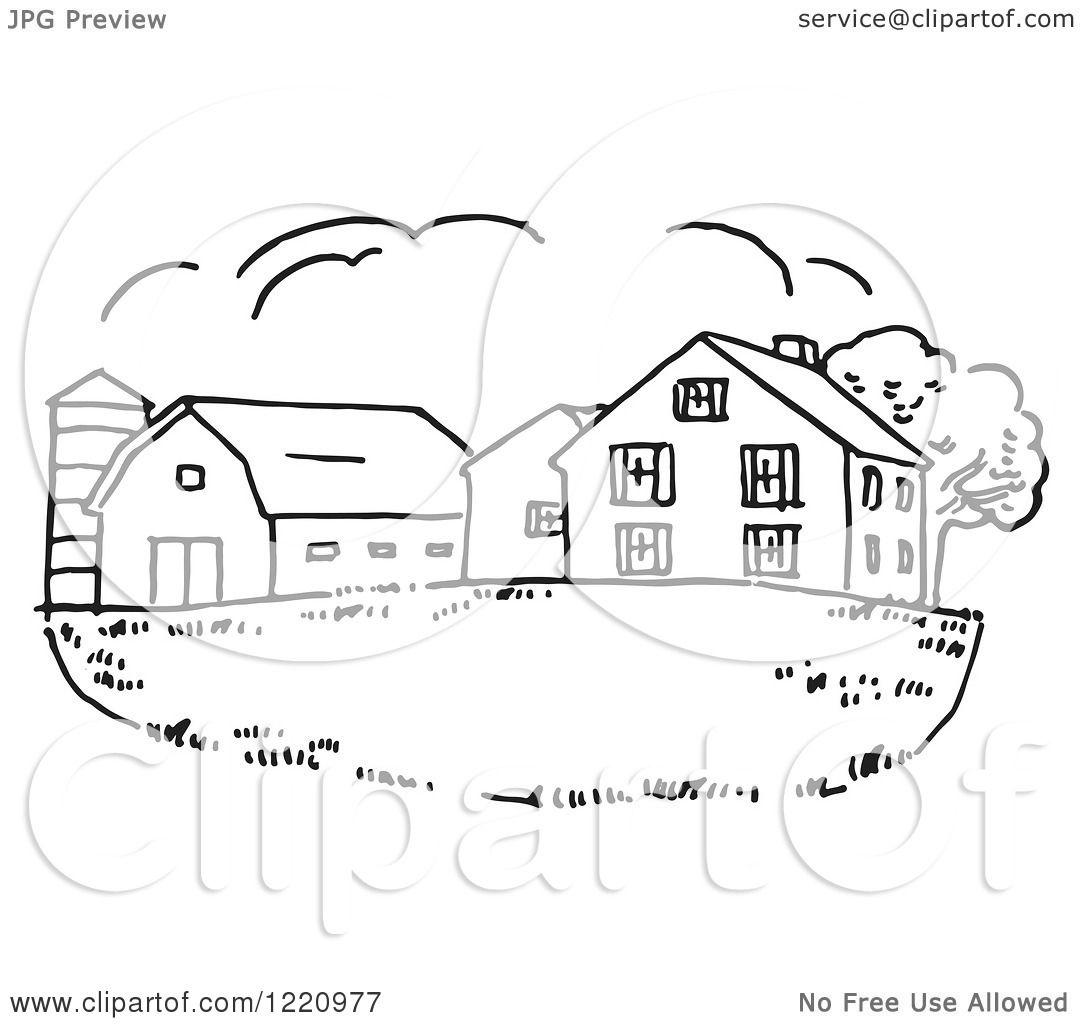 Clipart of a Black and White Farm House - Royalty Free Vector ... for Farmhouse Clipart Black And White  15lptgx