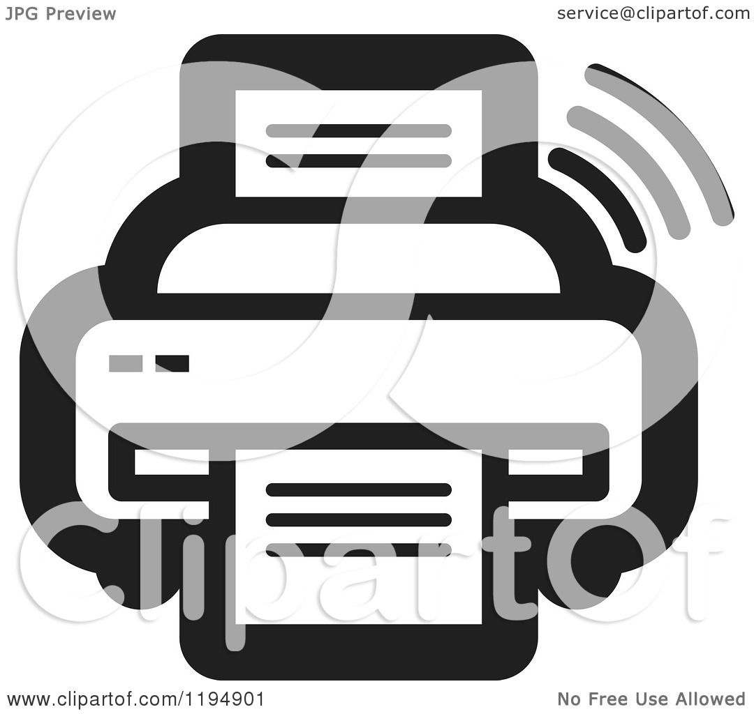 clipart of a black and white fax machine office icon royalty free rh clipartof com